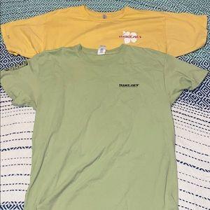 green and yellow trader joe's tee shirts